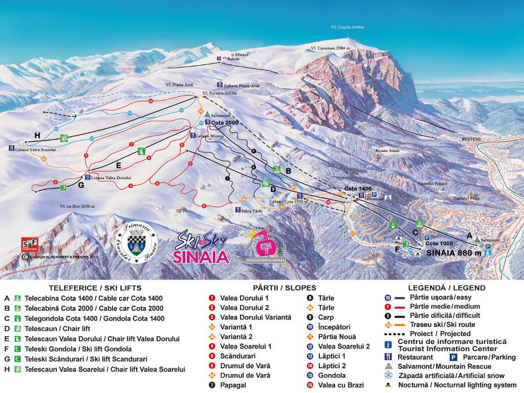 Harta partii schi Sinaia